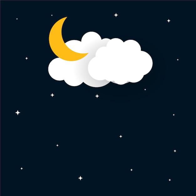 Platte papercut stijl maan sterren en wolken achtergrond Gratis Vector