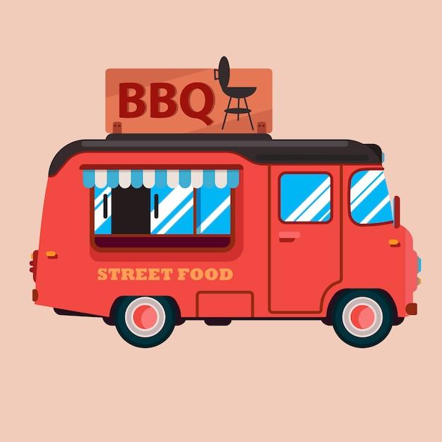 Platte pictogram van bbq food truck. Premium Vector
