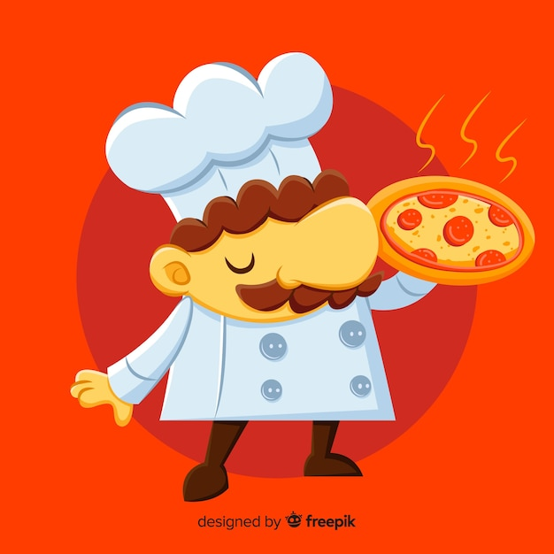 Platte pizza chef-kok achtergrond Gratis Vector