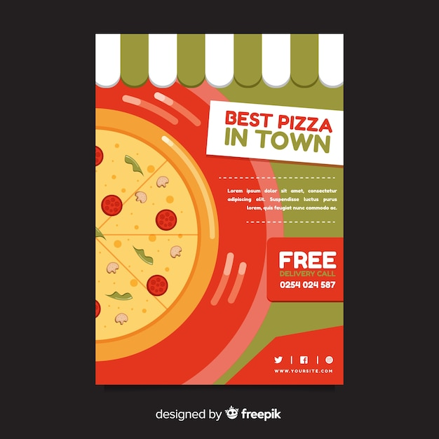 Platte pizza flyer sjabloon Gratis Vector