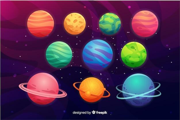 Platte planeet collectie in de ruimte Gratis Vector