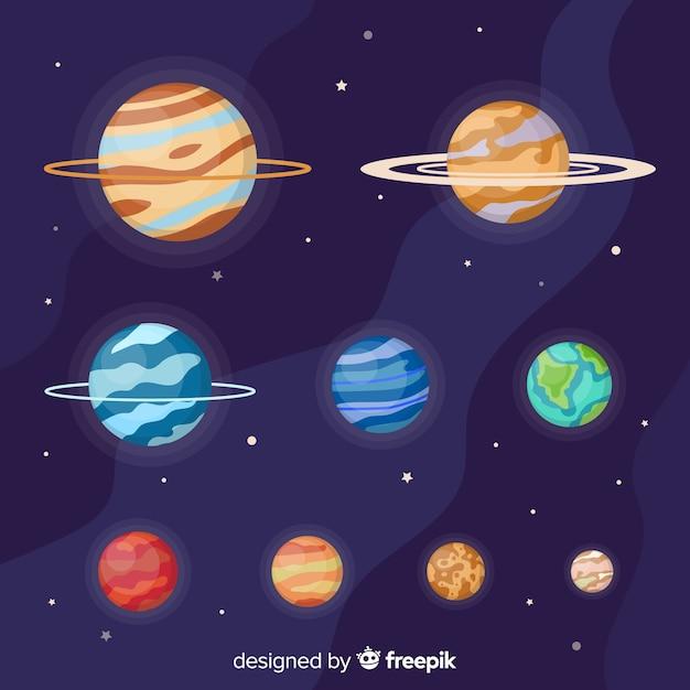 Platte planeet collectie van de melkweg Gratis Vector