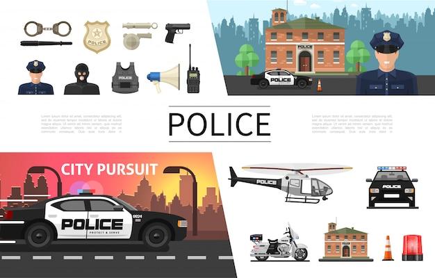 Platte politie elementen concept met politieagent criminele sheriff badge pistool helm luidspreker handboeien helikopter auto motorfiets sirene radio set Gratis Vector