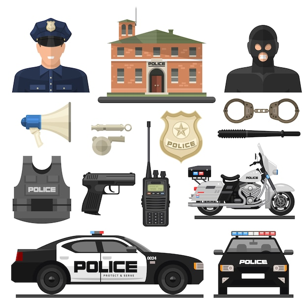 Platte politie icon set Gratis Vector