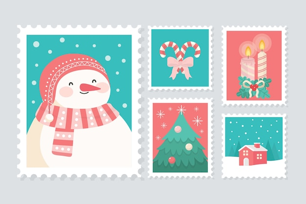 Platte postzegelcollectie Gratis Vector