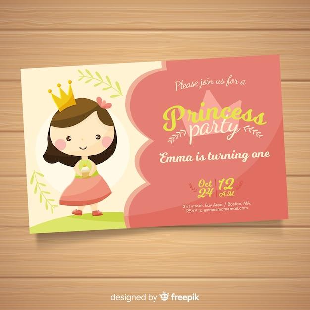 Platte prinses partij uitnodiging sjabloon Gratis Vector