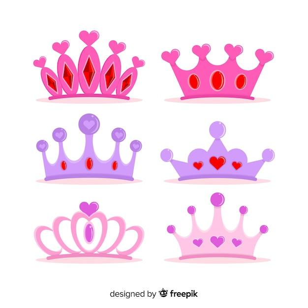 Platte prinses tiara collectie Gratis Vector