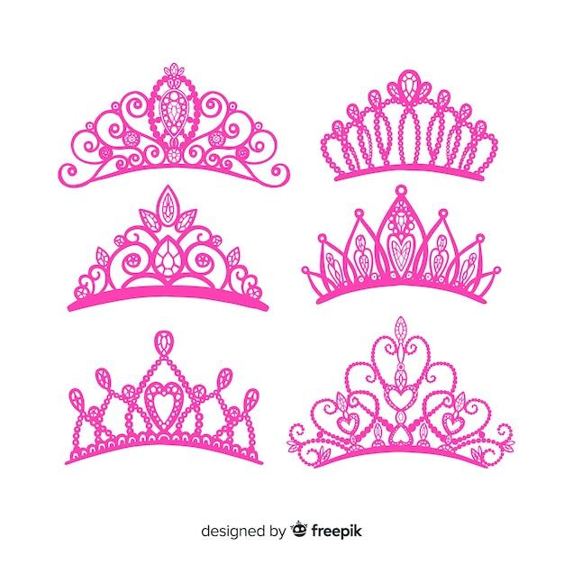 Platte prinses tiara collectio Gratis Vector