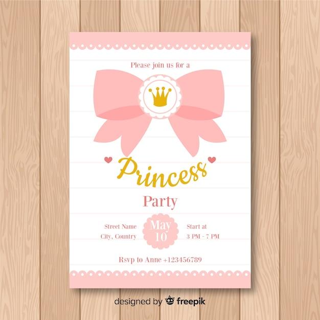 Platte prinses uitnodiging voor feest Gratis Vector