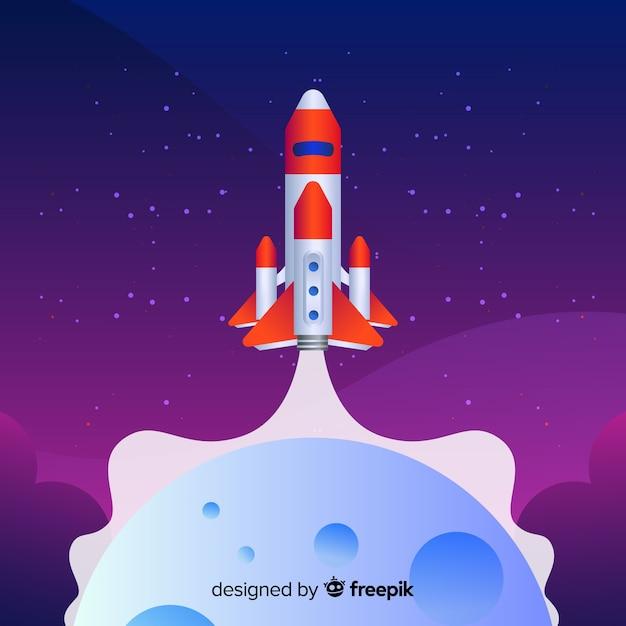 Platte raket op de achtergrond van de maan Gratis Vector