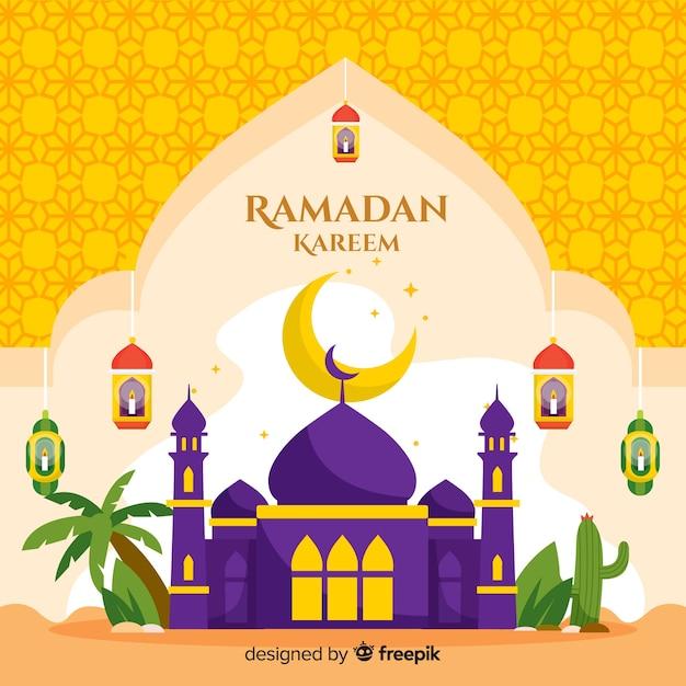 Platte ramadan achtergrond Gratis Vector
