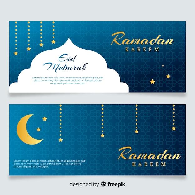 Platte ramadan banners Gratis Vector