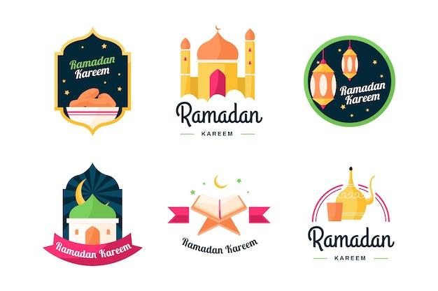 Platte ramadan labelcollectie Gratis Vector