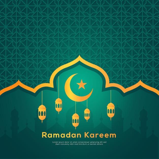 Platte ramadan vakantie achtergrond Gratis Vector