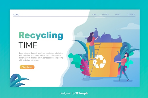 Platte recycling bestemmingspagina sjabloon Gratis Vector