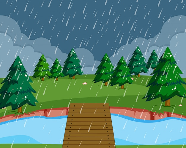 Platte regenende natuur landschap-achtergrond Gratis Vector