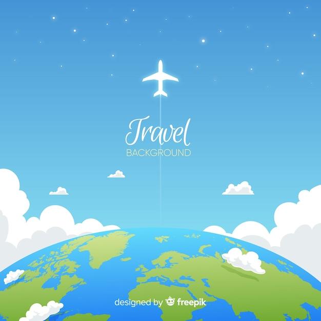 Platte reisachtergrond Gratis Vector