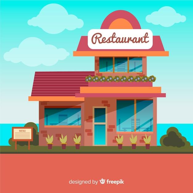 Platte restaurant achtergrond Gratis Vector