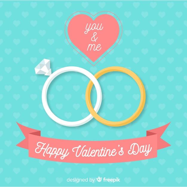 Platte ringen valentijn achtergrond Gratis Vector
