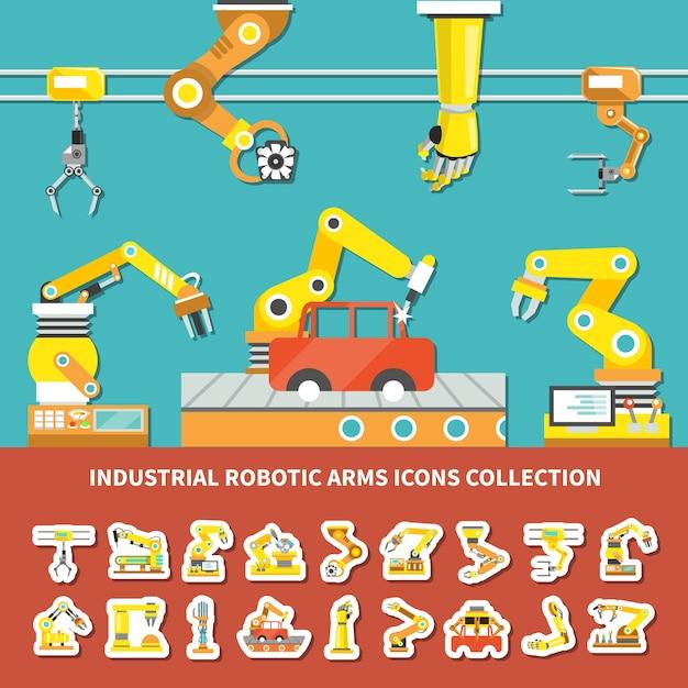 Platte robotarm gekleurde samenstelling met industriële robotarmen iconen collectie beschrijving illustratie Gratis Vector