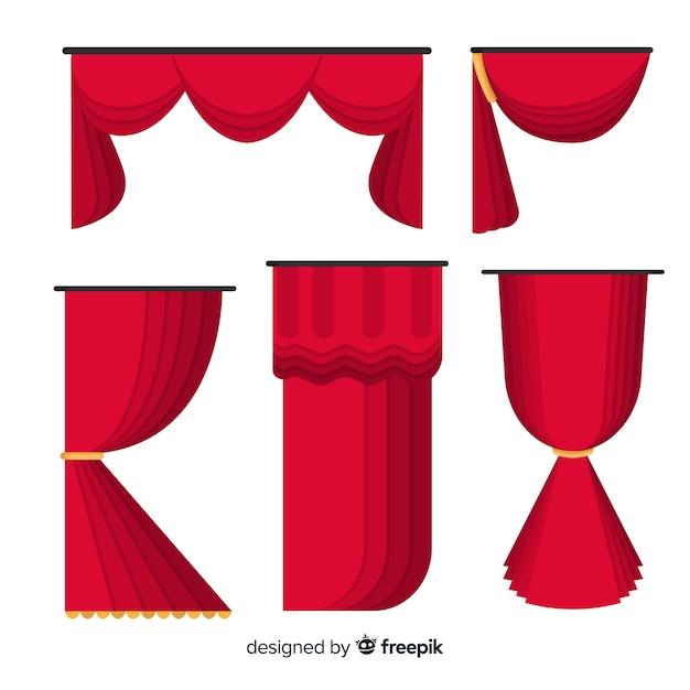 Platte rode gordijncollectie Gratis Vector