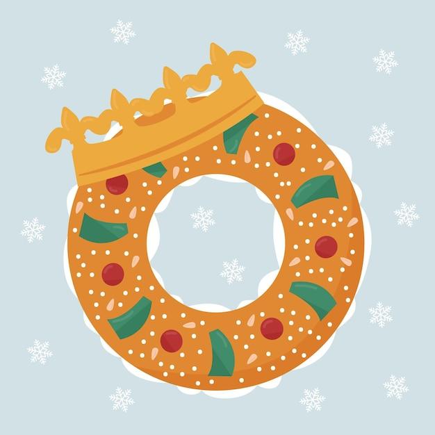 Platte roscón de reyes illustratie Gratis Vector