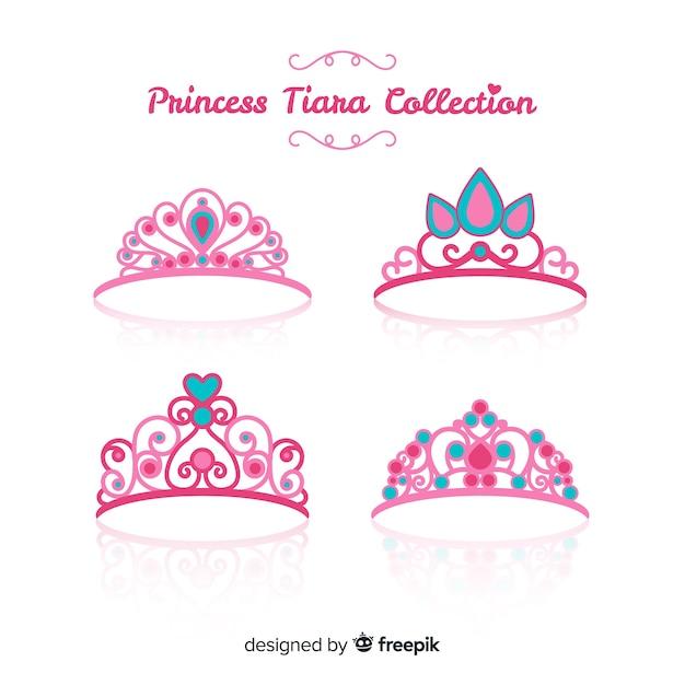 Platte roze prinses tiara collectie Gratis Vector