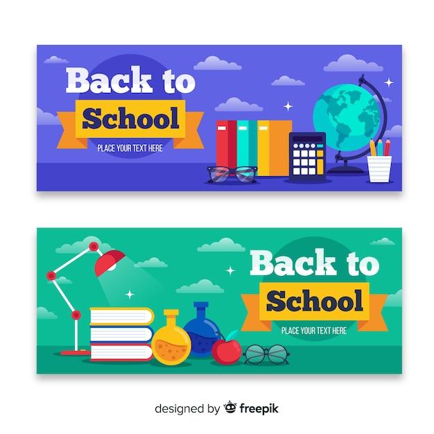 Platte rug naar school banners Gratis Vector