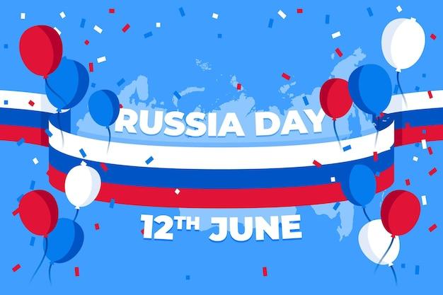 Platte rusland dag achtergrond met ballonnen Gratis Vector