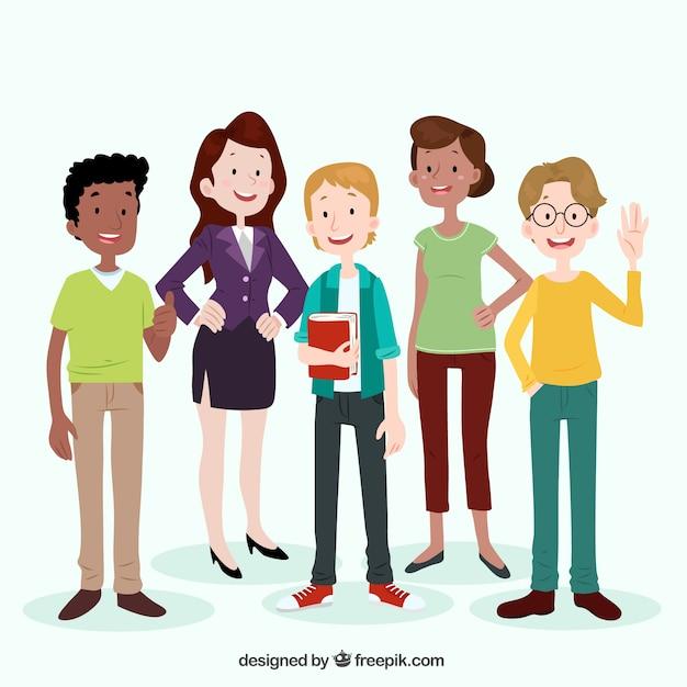 Cartoon Characters Mixed Together : Platte samenstelling met smiley mensen vector gratis