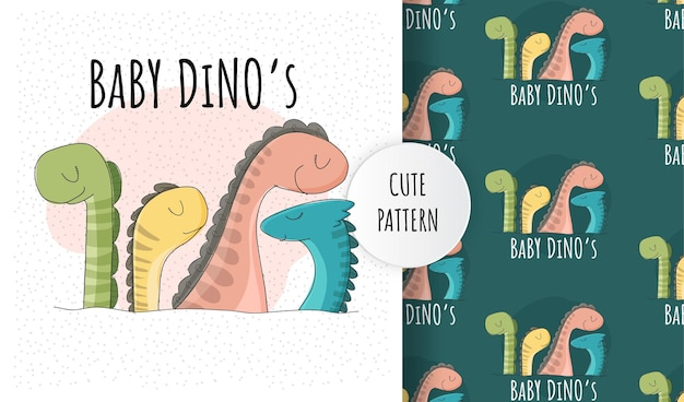 Platte schattige baby's dino collectie patroon set Premium Vector