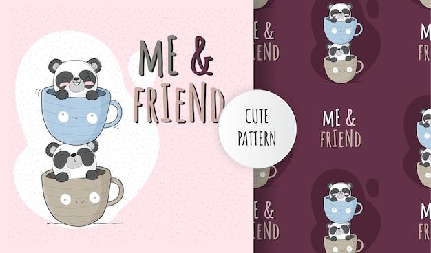 Platte schattige dieren panda op koffiekopje patroon set Premium Vector