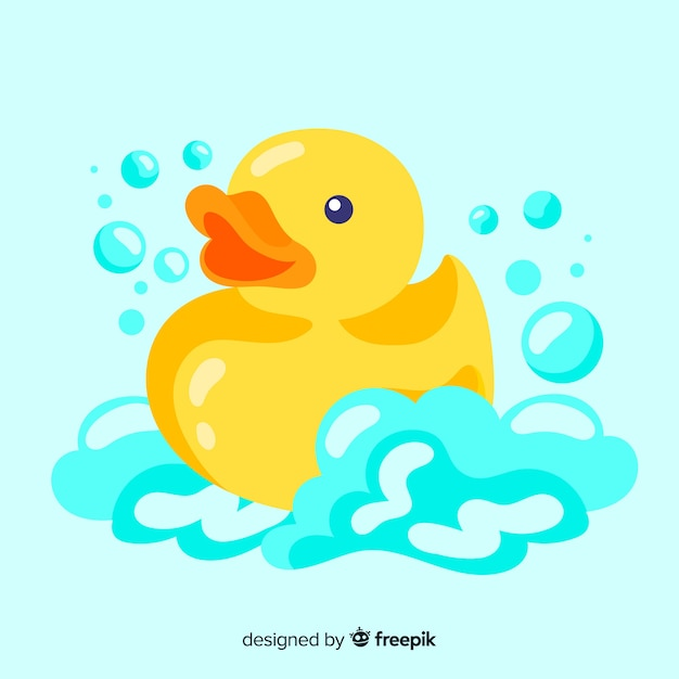 Platte schattige gele badeend Gratis Vector