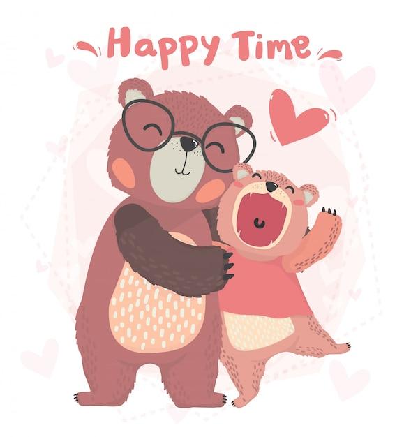 Platte schattige gelukkige papa en kind herfst teddybeer glimlach, knuffel met gelukkige tijd, valentijn kaart Premium Vector
