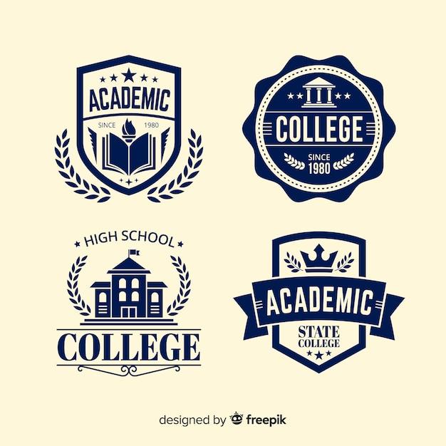 Platte school logo sjabloonverzameling Premium Vector