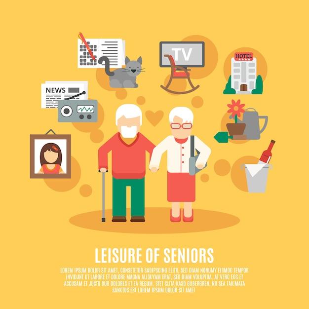 Platte senior poster Gratis Vector