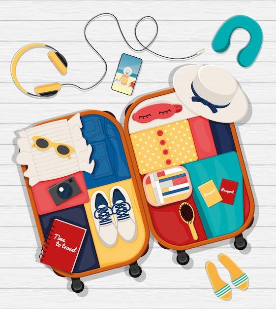 Platte set rond het thema reizen, vakantie, avontuur. Premium Vector