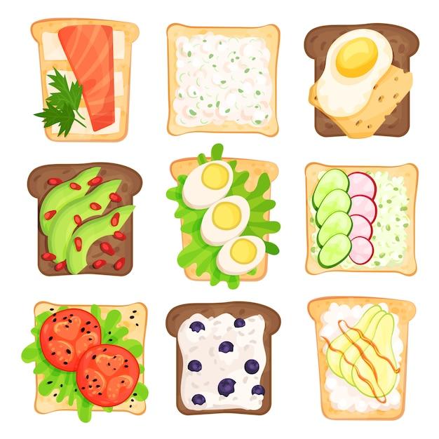 Platte set van geroosterde sneetjes brood met verschillende ingrediënten. sandwiches met groenten, bessen, eieren en kwark. gezonde snacks Premium Vector