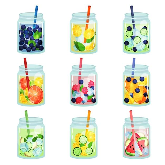 Platte set van heerlijke detox drankjes met verschillende ingrediënten. verfrissend fruitwater. natuurlijke en gezonde dranken. biologische cocktails in glazen potten met rietjes Premium Vector