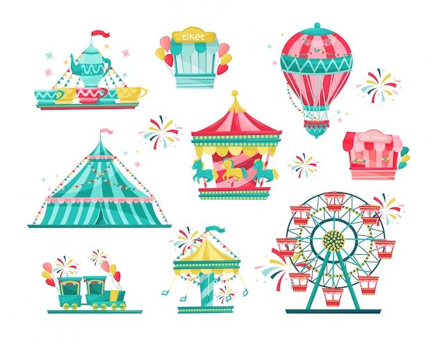 Platte set van pretparkapparatuur. carnavalscarrousels, kaartverkoop en ijskraam. entertainment thema Premium Vector