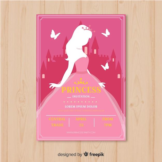 Platte silhouet prinses partij uitnodiging sjabloon Gratis Vector