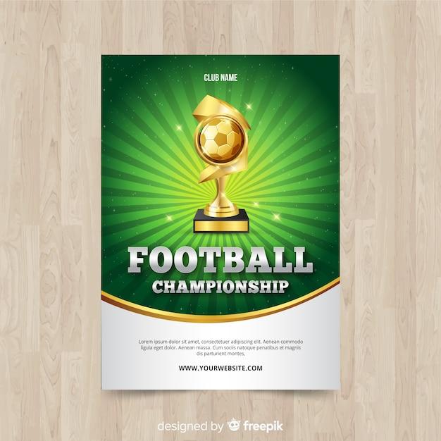 Platte sjabloon van voetbal poster Gratis Vector