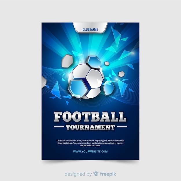 Platte sjabloon van voetbal poster Premium Vector