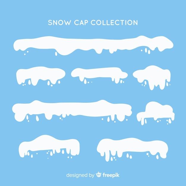 Platte sneeuw cap collectie Gratis Vector
