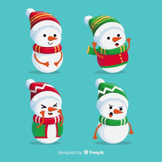 Platte sneeuwpop character collection met sjaal Gratis Vector