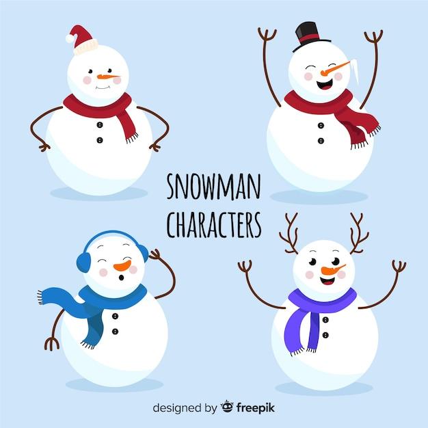 Platte sneeuwpop tekensverzameling Gratis Vector