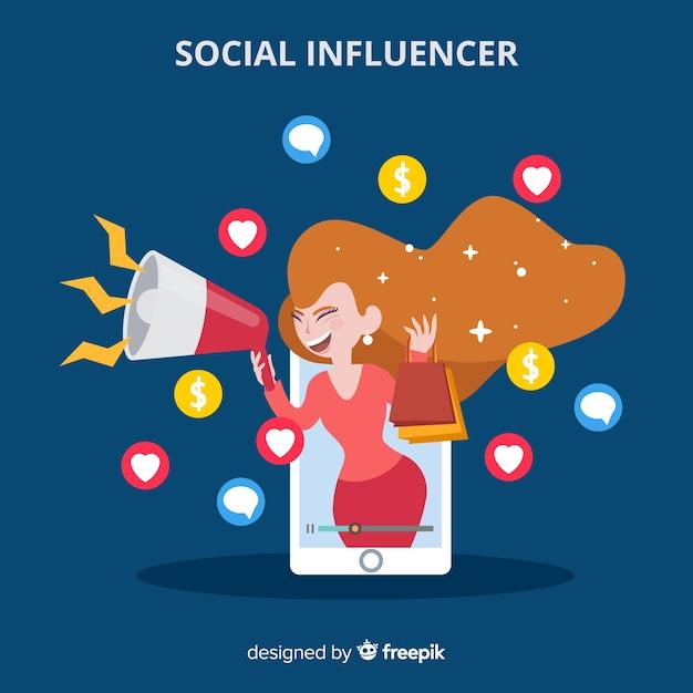 Platte sociale beïnvloeder Gratis Vector