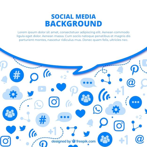 Platte sociale media achtergrond met verscheidenheid aan pictogrammen Gratis Vector