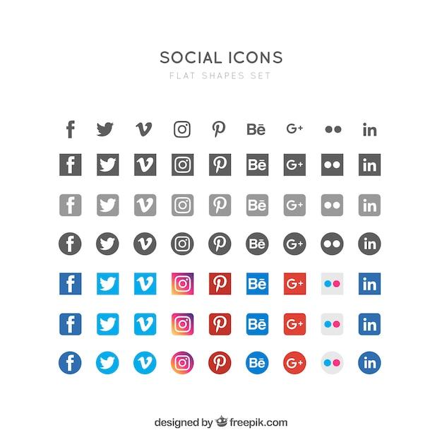 Platte sociale pictogrammen Gratis Vector