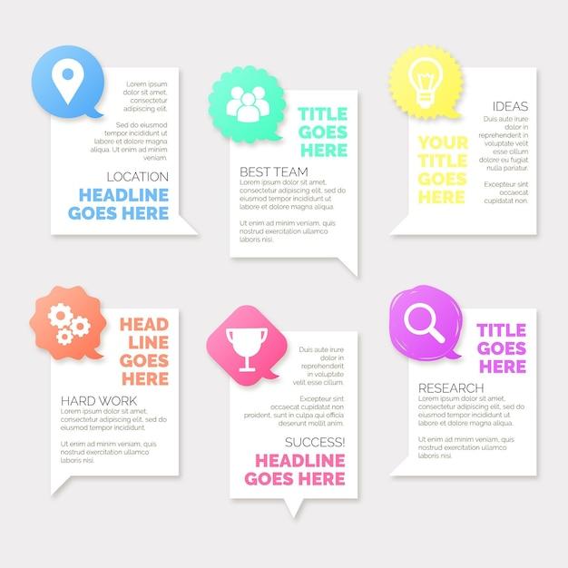 Platte spraak bubbels infographics Gratis Vector